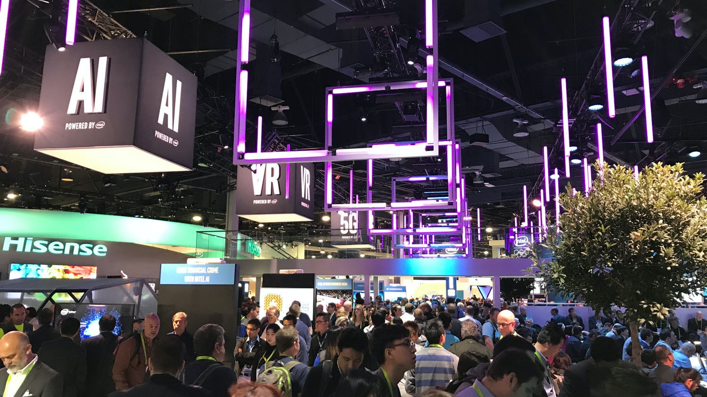 Crowd at CES booths