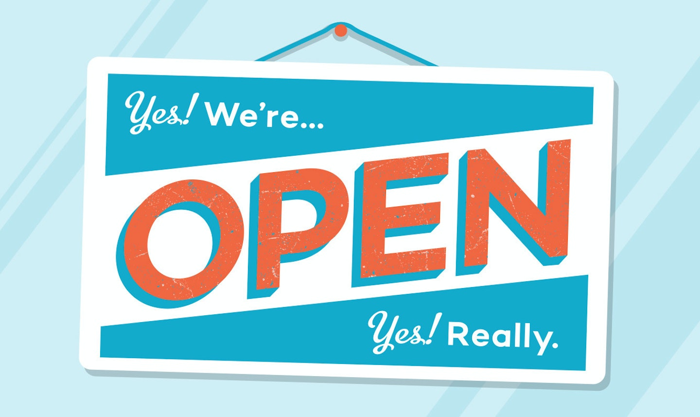 Yes! We're open window sign