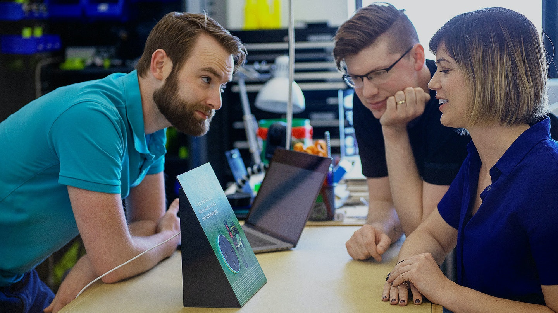 Team members testing alexa alfalfa bot