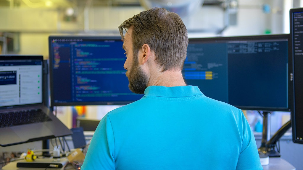 Developer working on programming alexa skill